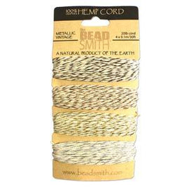 0.55mm Hemp Cord Vintage Metallic Colors, 4 pack, 10lb test, 53 yards, cor0319