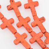 25mm Howlite Sideways Cross Beads in PUMPKIN ORANGE how0172