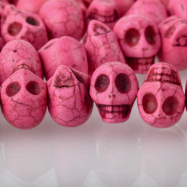 12mm PINK Howlite Skull Beads, Drilled Sideways, full strand, about 40 beads, how0675