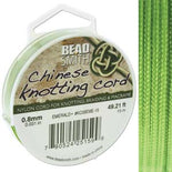 Chinese Knotting Cord Olive Emerald Green 0.8mm, 15m, cor0406