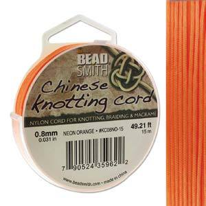 Chinese Knotting Cord Neon Orange 0.8mm, 15m, cor0409