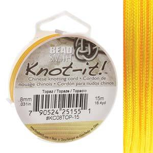 Chinese Knotting Cord Topaz Yellow 0.8mm, 15m, cor0417