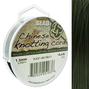 Chinese Knotting Cord Black 1.5mm, 5m, cor0392