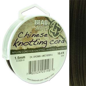 Chinese Knotting Cord Dark Brown 1.5mm, 5m, cor0386