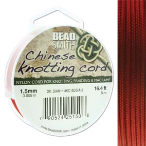 Chinese Knotting Cord Dark Siam Red 1.5mm, 5m, cor0385