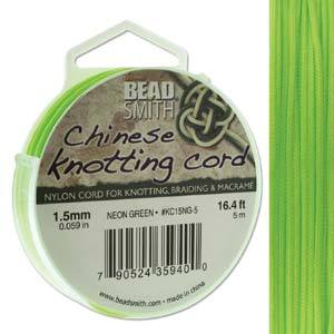Chinese Knotting Cord Neon Green 1.5mm, 5m, cor0384