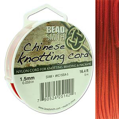 Chinese Knotting Cord Siam Red 1.5mm, 5m, cor0383