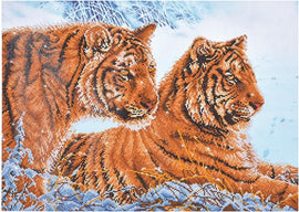 "Diamond Painting Kit TIGERS IN THE SNOW Diamond Dotz 28x20"" kit0177"