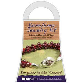 Burgundy in the Vinyard NECKLACE KUMIHIMO JEWELRY KIT, SMALL kit0232