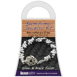 Silver & Black Twist NECKLACE KUMIHIMO JEWELRY KIT, SMALL kit0235