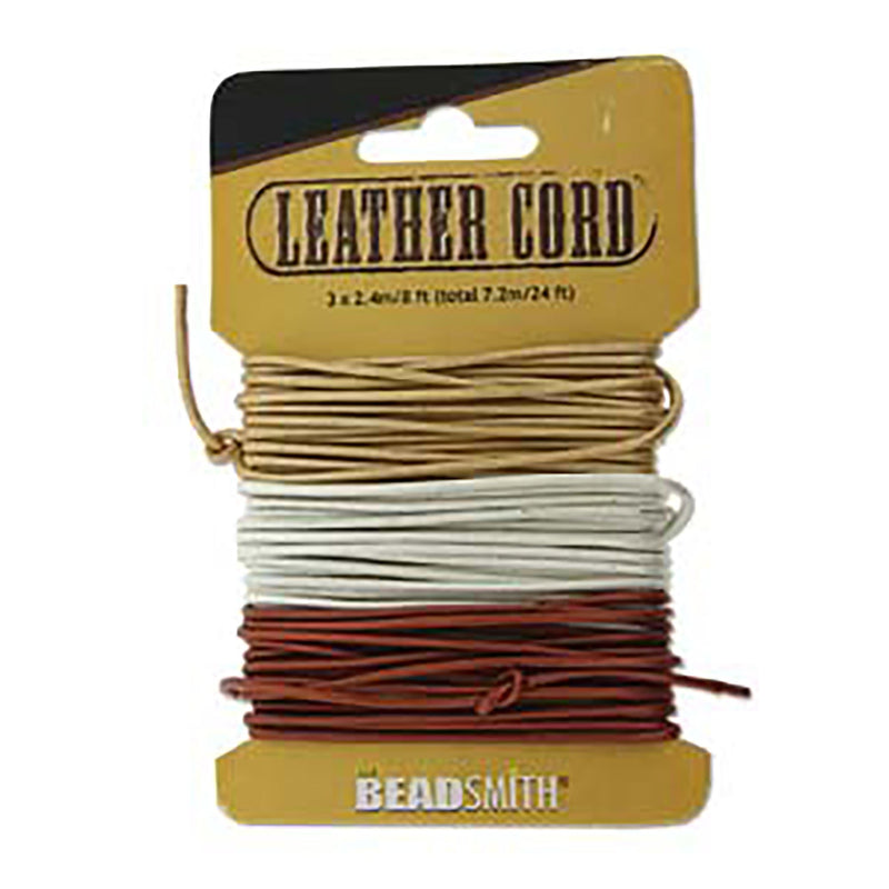 1.5mm Round Leather Cord, Copper Gold Silver Assortment, 24 feet total, Lth0079