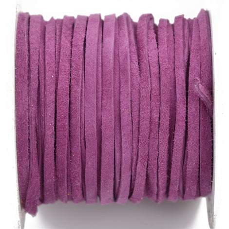 "1/8"" Suede Leather Lace, VIOLET PURPLE, real leather by the yard, Realeather made in USA, 3mm wide, 25 yards, Lth0020"