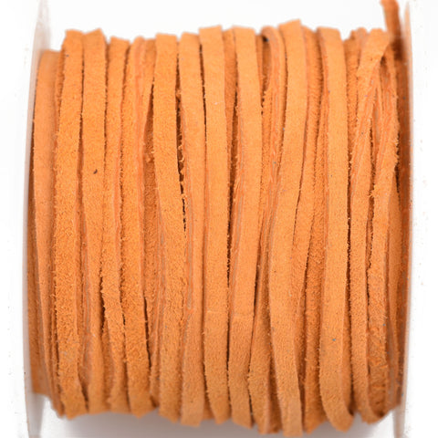 "1/8"" Suede Leather Lace, ORANGE PEEL, real leather by the yard, Realeather made in USA, 3mm wide, 25 yards, Lth0021"