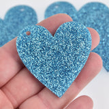 "5 Turquoise Blue Glitter 2"" Heart Charms Laser Cut Acrylic Blanks Lca0795a"