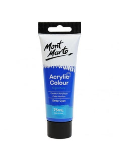 Acrylic Paint, Deep Cyan Blue, Semi-Matte, 75ml, pnt0177
