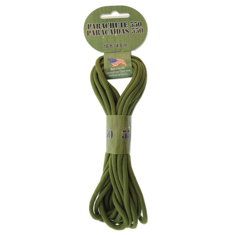 16ft Paracord 550 Olive Green 4.8mm Parachute Cord cft0118