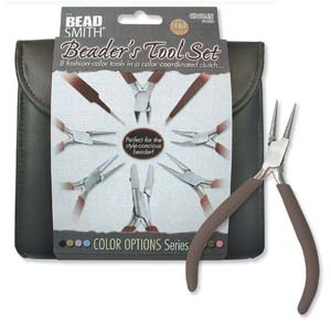Plier and Jewelry Tools Set with Clutch, Chocolate Brown, tol0976