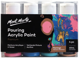Acrylic Pouring Paint, Flamingo Set of 4 bottles, 60ml (2oz) each, pnt0095