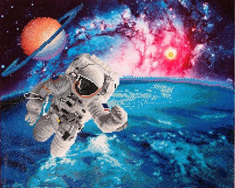 "Rhinestone Painting Kit, BEAM ME UP Outer Space Astronaut, Diamond Dotz, Diamond Facet Art, Bling Wall Art 22x18"" canvas kit0147"