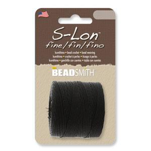 Black S-Lon Fine Beading Cord, 0.4mm 3-ply nylon, 118 yards, cor0338