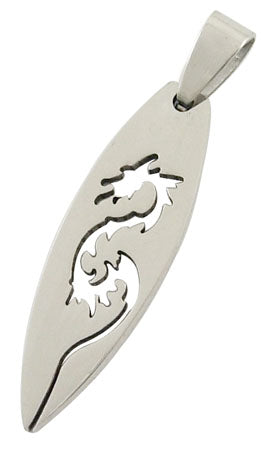 1 Stainless Steel Metal Blank Pendant, DRAGON Cut-Out, Leaf Shape, bail . 16 gauge chs1603