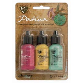 Set of 3 Patina for Metal, Vintaj Ranger, KEY WEST, 1/2 oz. bottles in shades of green, yellow, pink, pnt0185