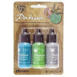 Set of 3 Patina for Metal, Vintaj Ranger, SANTA FE MARKET, 1/2 oz. bottles in shades of blue, green, gray, pnt0184