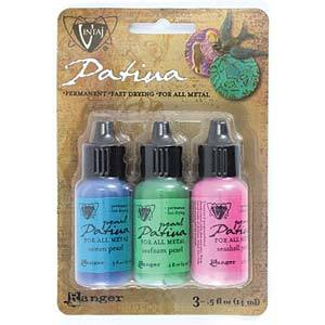 Set of 3 Patina for Metal, Vintaj Ranger, ABALONE PEARL, 1/2 oz. bottles in shades of pink, green, blue, pnt0186