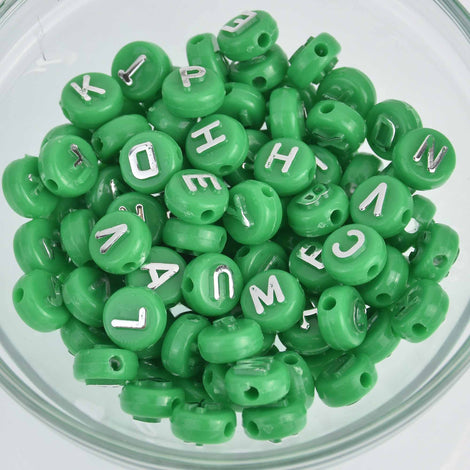 10mm Alphabet Coin Beads, Green with Raised Silver Letters, x100 acrylic beads bac0399