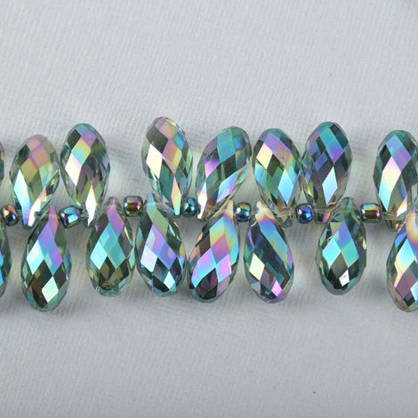 10 Crystal NORTHERN LIGHTS AB Teardrop Briolette Beads, faceted . top drilled . 20x10mm  bgl0574
