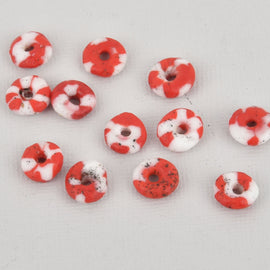 10mm to 12mm Red White Glass Rondelle African Trade Beads Recycled Glass x25 beads bgl1895