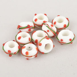 4 Lampwork Glass Beads, Large Hole European Glass Beads, 14mm, bgl1940
