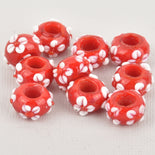 4 Red Lampwork Glass Beads, Large Hole European Glass Beads, 14mm, bgl1943
