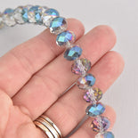 12mm NORTHERN LIGHTS RONDELLE Faceted Crystal Glass Beads, 1 strand, about 40 beads, bgl1968