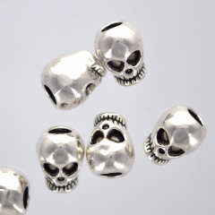 5 Silver SKULL Beads, European Large Hole Beads 12mm x 9mm  bme0254
