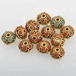 4 Brass Beads, Saucer Rondelle, Turquoise and Coral Inlay, 12mm, bme0566