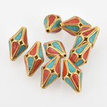 4 Brass Bicone Beads, Turquoise and Coral Inlay, 20mm, bme0567
