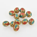 4 Brass Oval Beads, Turquoise and Coral Inlay, 11mm, bme0568