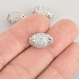 1 Silver Micro Pave Oval Bead, Metal with CZ Cubic Zirconia Crystals, 15x10mm, bme0620