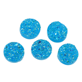 10 Round Resin Metallic AB Turquoise Blue DRUZY CABOCHONS, faux druzy, 12mm  cab0409