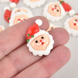 10 Santa Claus Cabochons, Resin, 29mm, cab0577