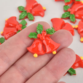 10 Christmas Bells Cabochons, Resin, 28mm, cab0578