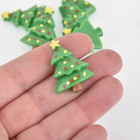 10 Christmas Tree Cabochons, Resin, 32mm, cab0579