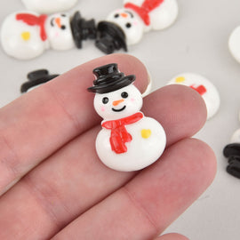 10 Snowman Cabochons, Resin, 31mm, cab0580