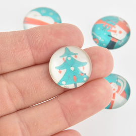 "40 Christmas Cabochons, Glass Dome 20mm or 3/4"" inch, cab0583"