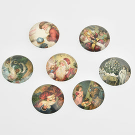 "10 Christmas Cabochons, Glass Dome 25mm or 1"" inch, cab0584"