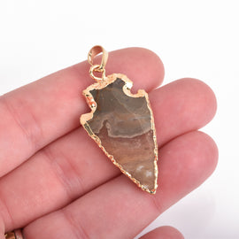 "1 AGATE Gemstone ARROWHEAD Gemstone Pendant, Hammered Gold Plated Bezel, 2"" to 2.5"" long cgm0052"