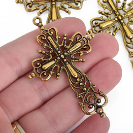 "Large Ornate Antique GOLD FILIGREE Cross about 2.5"" long . double sided chg0101"