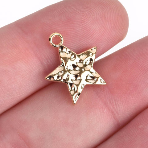 10 Bright Gold Hammered Metal STAR Charm Pendants, 18x15mm chg0513