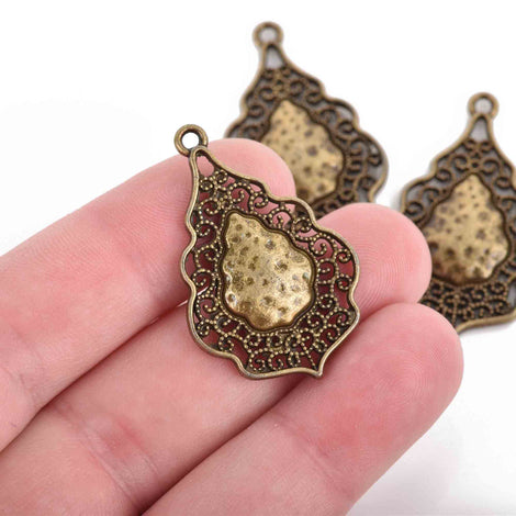 5 Bronze Charms, fancy Victorian filigree design, teardrop charms, 37x25mm, chs2956